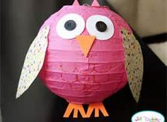 paper lantern owls for table colors: pink, blue, purple, green, & yellow