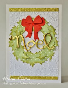 The Dining Room Drawers: A couple of Stampin' Up and Sizzix Christmas Cards - Tim Holtz Holiday Wreath card