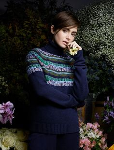 Lily Collins - Barrie Knitwear, Fall/Winter 2015