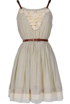 Cheap dresses-- Country Whimsy Leather Belted Dress In Pale Grey