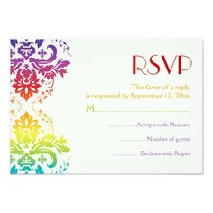 Damask RSVP Wedding Invitations Rainbow colors damask wedding RSVP Card