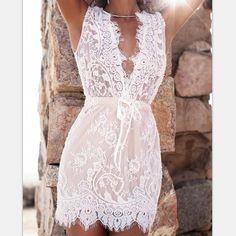 Modest Elegant Wedding Dress White Deep V-neck Sleeveless Lace Short Dress - Meet Yours Fashion - 1 Trendy Dresses, Casual Dresses, Short Dresses, Summer Dresses, Ladies Dresses, Vacation Dresses, Fashion Dresses, White Dress Outfit, Lace Outfit