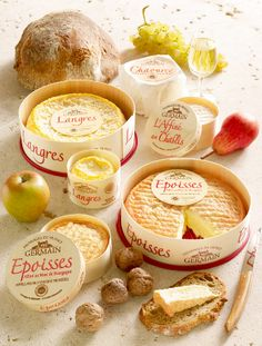Products from Germain cheese dairy in Chalancey. In addition to the funky washed-rind Époisses and Langres, they also produce a buttery brie-like Chaource and boozy L'Affiné au Chablis.