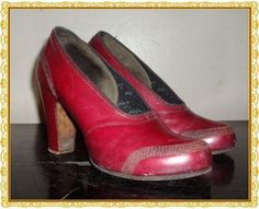 Vintage 30s Red Cross Deco Shoes Hi Heels Baby Doll RED