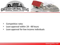 Greater Central Texas Federal Credit Union is a renowned credit union serving the people of Killeen, TX. The credit union provides secured and unsecured loans at competitive. The clients with the low credit score can also apply or loan with the credit union. For more information, visit : http://www.gctfcu.net