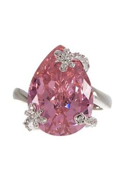 Pear Shape Pink & White CZ Ring