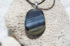 Blue Tiger's Eye Palm Stone on a Leather Cord by DejaVuDesignz2
