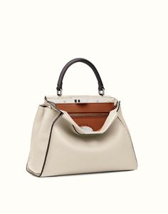 7106124503 FENDI SELLERIA PEEKABOO - white Roman leather handbag Couture Bags