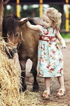 Little Girl and Miniature Horse - Adorable!