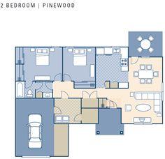 NCBC Gulfport – Pinewood Neighborhood: 2 bedroom townhouse floor plan.