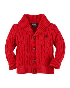Cable-Knit Shawl-Collar Cardigan, Martin Red, 3-24 Months  by Ralph Lauren Childrenswear at Neiman Marcus.