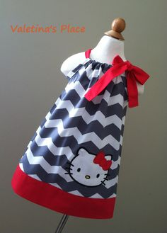 Beautiful Hello Kitty in Chevron pillowcase by Valentinasplace, $29.00
