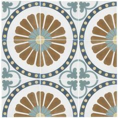Merola Tile Revival Ring Encaustic Ceramic Floor and Wall Tile - in. Tile - The Home Depot Shower Floor, Tile Floor, Shower Walls, Bathroom Flooring, Ceramic Flooring, Linoleum Flooring, Basement Flooring, Terrazzo Flooring, Shower Backsplash