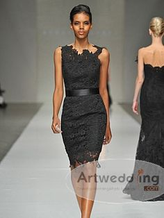 Sleeveless All over Lace Sheath Party Dress with Sash  $139.99 avail. in 28 colors