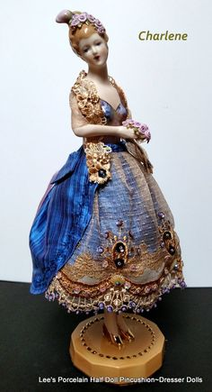 Charlene - (SOLD)  Standing half doll with porcelain half body, legs and base.  (pincushion center)