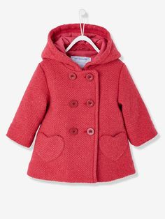 An coat for the baby with a very warm woollen effect, with lining and super elegant! Coat with a woollen effect for baby girls Double-breasted button fastening Integrated hood Heart-shaped pocket Baby Outfits, Kids Outfits Girls, Baby Girl Dresses, Baby Dress, Baby Girls, Baby Girl Patterns, Baby Clothes Patterns, Baby Girl Fashion, Kids Fashion