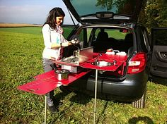 """SwissRoomBox  ~""""We have not tried this set up, so can not vouch whether it is a cool tool. It is a new modular household that unfolds from the back of a SUV, rover, or car with hatchback. See the website for a full expansion."""""""