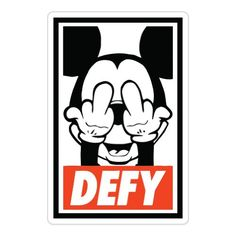 "Defy Mickey Mouse Obey Car Sticker Decal Phone Small 3"" MiniApple Stickers,http://www.amazon.com/dp/B00EB078HS/ref=cm_sw_r_pi_dp_LqV0sb1Y2YB15B4Q"