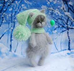 Christmas Cat Green Gray  Christmas Amigurumi Kitty by Fuzzoo