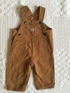 b39e0df0285b6 Carhartt Infant Baby Boys or Girls Brown Canvas Bib Overalls Size 6 Months   fashion