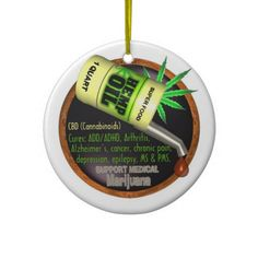 "Hemp Oil Cures Ornaments See Hemp Oil design at http://www.zazzle.com/valxartmedicalpot/gifts?gp=168985684424928610  Hemp oil marijuana cures or at least helps with pains !  See people with cured cancers on EDUCATIONAL VIDEOS  ""Run from the cure"" and more by Rick Simpson to learn truth about use of hemp oil to cure illness and pains. shows whole cure using hemp oil and how to make. See at http://phoenixtears.ca/video-library/  Learn to live longer with less pain by Valxart.com"