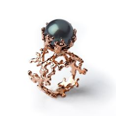 ROSE CORAL Rose Gold Tahitian Black Pearl Engagement Ring by arosha, $1750.00