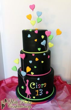 Neon/Lumo colored heart balloons birthday cake