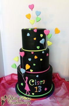 Neon/Lumo colored heart balloons birthday cake