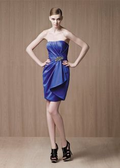 A-line Strapless Pleated Bodice Asymmetrical Draping Taffeta Cocktail Dress-soc0036,  $157.95