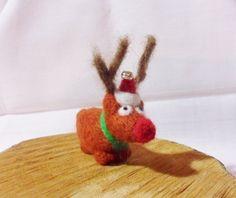 Needle Felted Christmas Reindeer  Christmas by feltindevon on Etsy
