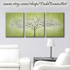 ON SALE TODAY, Olive Green, 36 inches, 3 piece Wall art set, Large Wall Art Canvas Trees, Green, Triptych art, painting, tree decor original