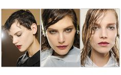 Top 20 Hair Trends for Fall/Winter 2013 - 2014: Prada, Fall/Winter 2013-2014 collection  Prada combined that just-stepped-out-of-the-bath hair with matching wet-look make-up.