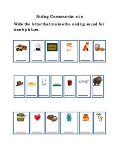 Kindergarten+Reading+Write+Ending+Consonants+Letters+S+T+X+for+Each+Picture.+Tools+for+Common+Core.+Emergent+Reader.+Literacy+Printable.+Life+Skills.+1+page.+