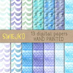 Ocean, Waves, Printable Watercolor Digital Paper Watercolor by SwiejkoForPrint, $5.00