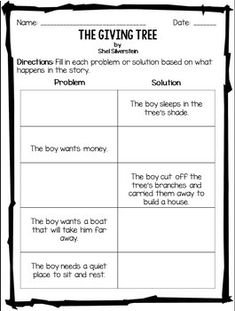 The Giving Tree Worksheet Packet! | The giving tree ...