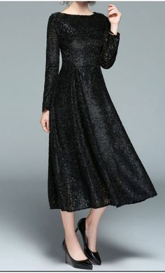 Hazel - lace black tea length long sleeve dress