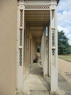 Wooden veranda, Moggerhanger House, Moggerhanger, Bedfordshire