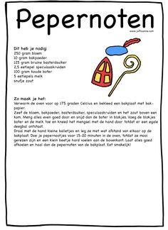 Het pepernoten recept van Juf Lisanne! Als je op de afbeelding klikt, kom je op de site uit. Daar kun je het recept downloaden en printen. Leuk om mee te geven aan je leerlingen!