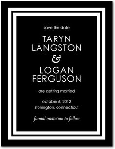 Signature White Save the Date Cards Boldly Elegant - Front : Black