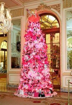 Pink Christmas tree at The Plaza, New York.