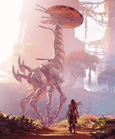 horizon zero dawn - Ailoy and a tallneck Horizon Zero Dawn Wallpaper, Horizon Zero Dawn Aloy, Mileena, Game Concept Art, Video Game Art, Sci Fi Art, Creature Design, Post Apocalyptic, Arcade