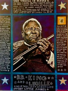 BB King painting by Ray Stephenson.   This painting is for sale.  Email Raybomusic@bellsouth.net if you're interested.  ○○○ #BBKing #ArtForSale #RayStephenson #Painting #Guitar #Blues #purple #Lucille #Memphis #StLouis