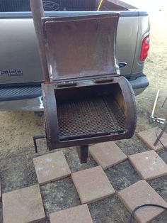 Portable Charcoal Wood Grill Mounted On A Trailer Hitch