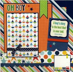 Oh Boy - Premade Scrapbook Page