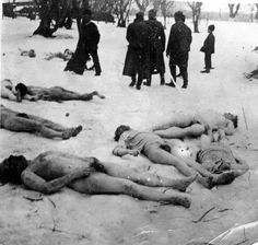 Jilava, Rumania, Corpses of Jews cast in the snow after a massacre, 1941.