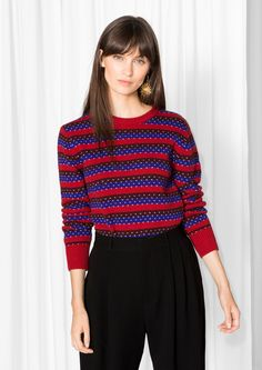 & Other Stories image 2 of After Ski Wool Sweater in Red/Blue