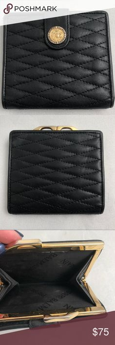 cc84a1f59 Vintage Pierre Balmain black leather wallet   coin Vintage Pierre Balmain  black quilted leather wallet