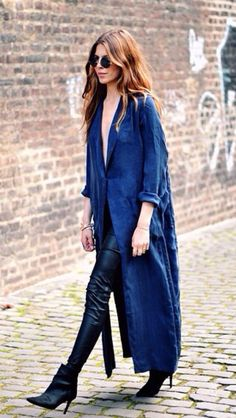 Long, light jacket over edgy leather pants with heels. //