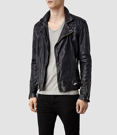 Hombre Conroy Leather Biker Jacket (Ink) | ALLSAINTS.com