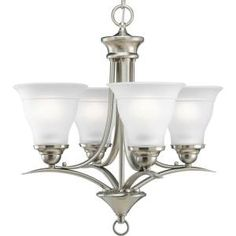 Progress Lighting, Trinity Collection 4-Light Brushed Nickel Chandelier, P4326-09 at The Home Depot - Mobile